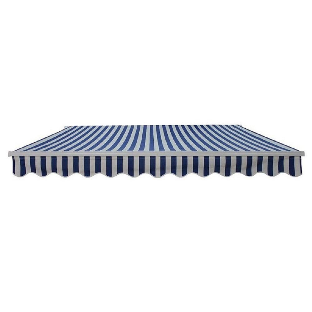 Aleko 20 Ft Motorized Retractable Awning 120 In Projection In Blue And White Stripe Awm20x10blwhstr03 Hd Retractable Awning Patio Awning Awning