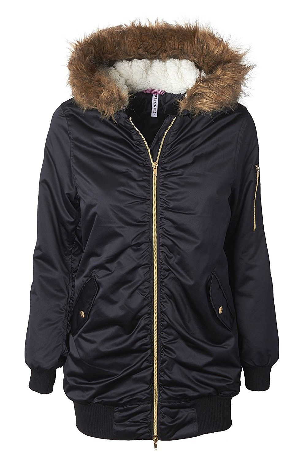 Women S Bomber Winter Puffer Jacket With Attached Sherpa Lined Hood And Removable Faux Fur Trim Black Cm1874ulam9 Winter Puffer Jackets Winter Puffer Coat Womens Faux Fur Coat [ 1500 x 982 Pixel ]