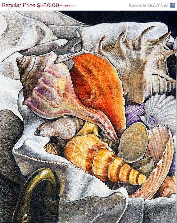 "Fine Art Print of an original still life in Colored Pencil - ""Shells"""