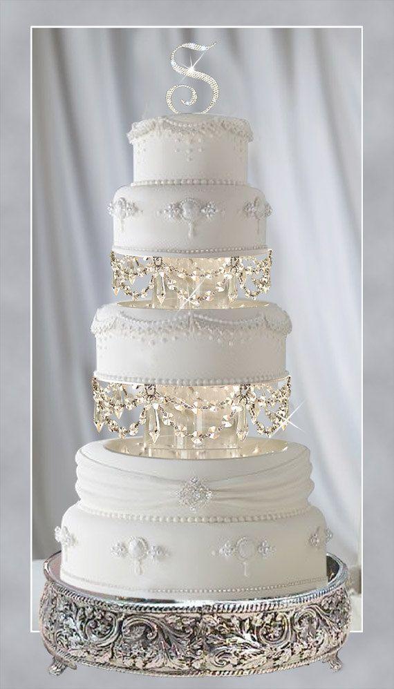 Wedding Cake Stands Plates Crystal Chandelier Tier Separators With Swarovski Crystals