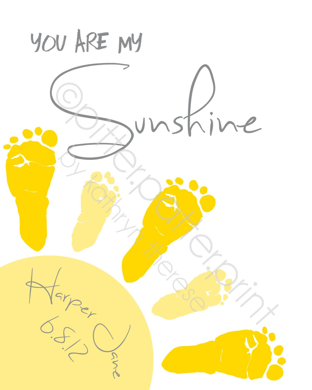 You Are My Sunshine Art New Baby Gift, Footprint Custom Nursery ...