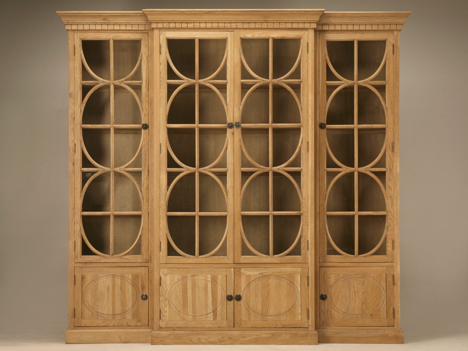 Weathered Oak Breakfront China Cabinet Or Bookcase With Glazed Doors