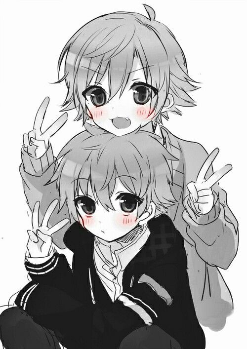 Kawaii Anime Boys 3 Posing With Peace Signs