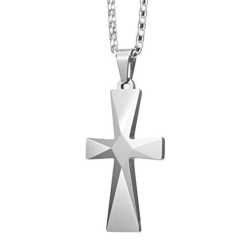 Tungsten cross mens pendant with stainless steel chain rb jewelry amazon splendid mens tungsten cross pendant stainless steel chain jewelry aloadofball Image collections