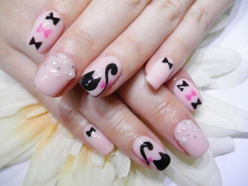 黒猫ちゃんネイル 【ネイルサロン&まつげエクステ T-Bear】 http://nail-beautynavi.woman.excite.co.jp/design/detail/24809?pint ≪ #nail #nails #nailart #softgel #gelnail #ジェルネイル≫