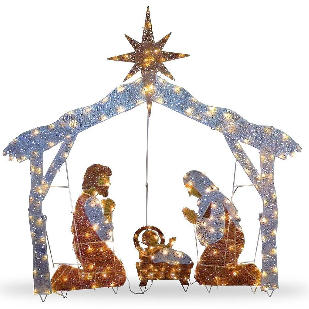 Christmas Holy Family Lighted Indoor Outdoor Yard Nativity Scene ...