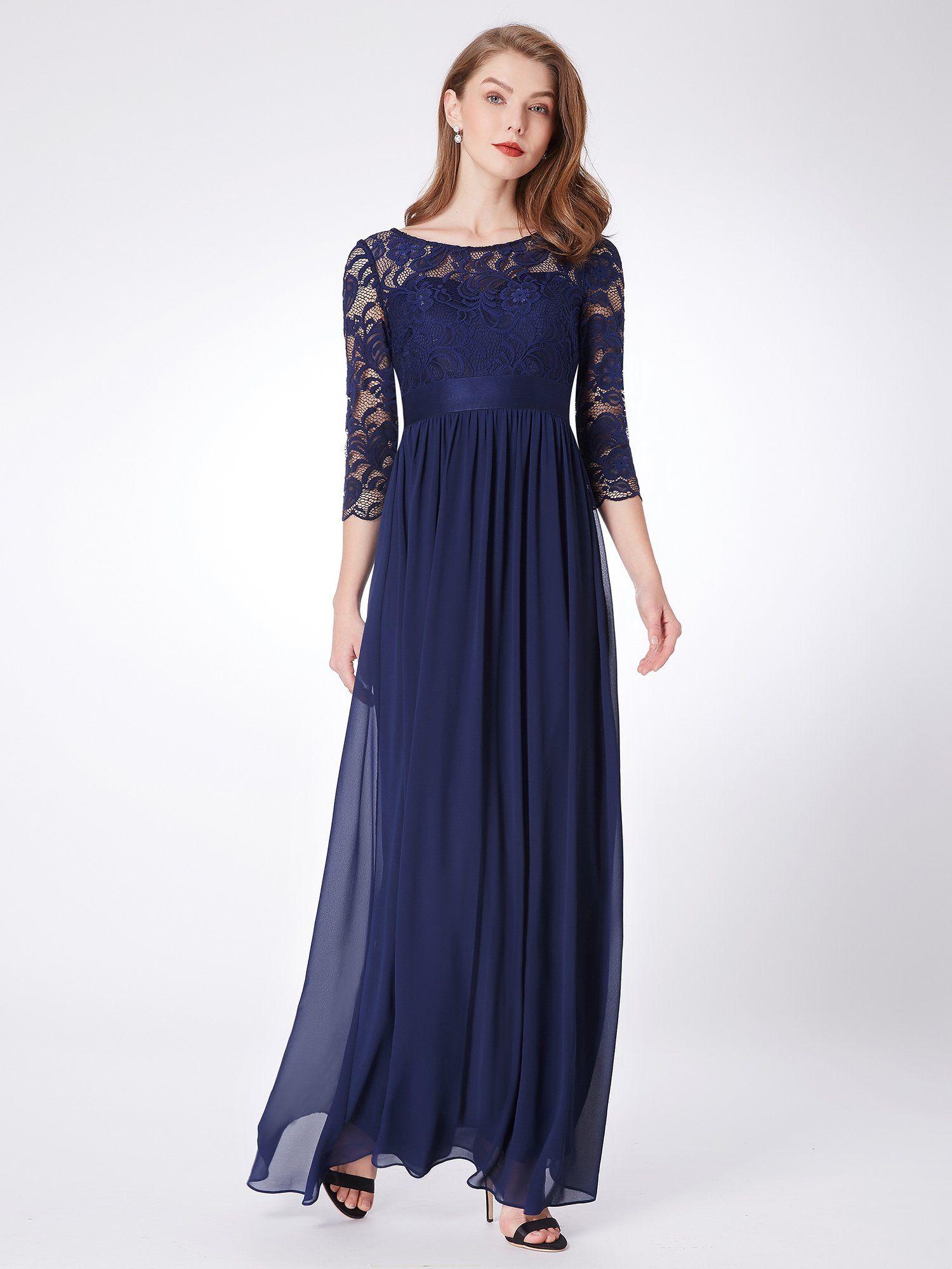 Everpretty women lace elegant 34 sleeve empire waist maxi