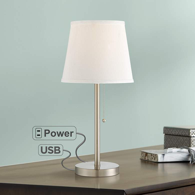 "Flesner Brushed Nickel Finish 20"" High Outlet and USB Lamp - #38H93 