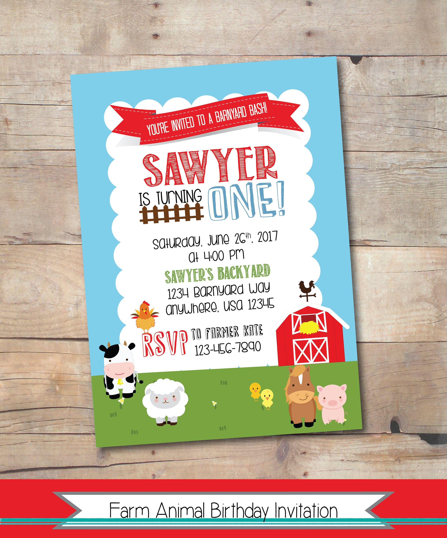 Farm Animal Birthday Invitation, Barnyard Bash Birthday Invite, Farm ...