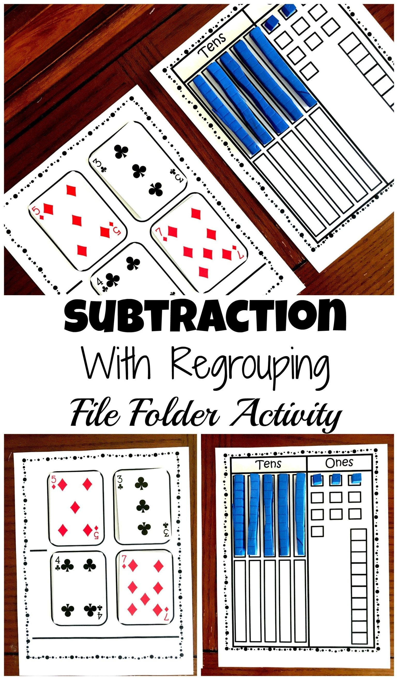 Grab A Free Subtraction With Base Ten Blocks File Folder