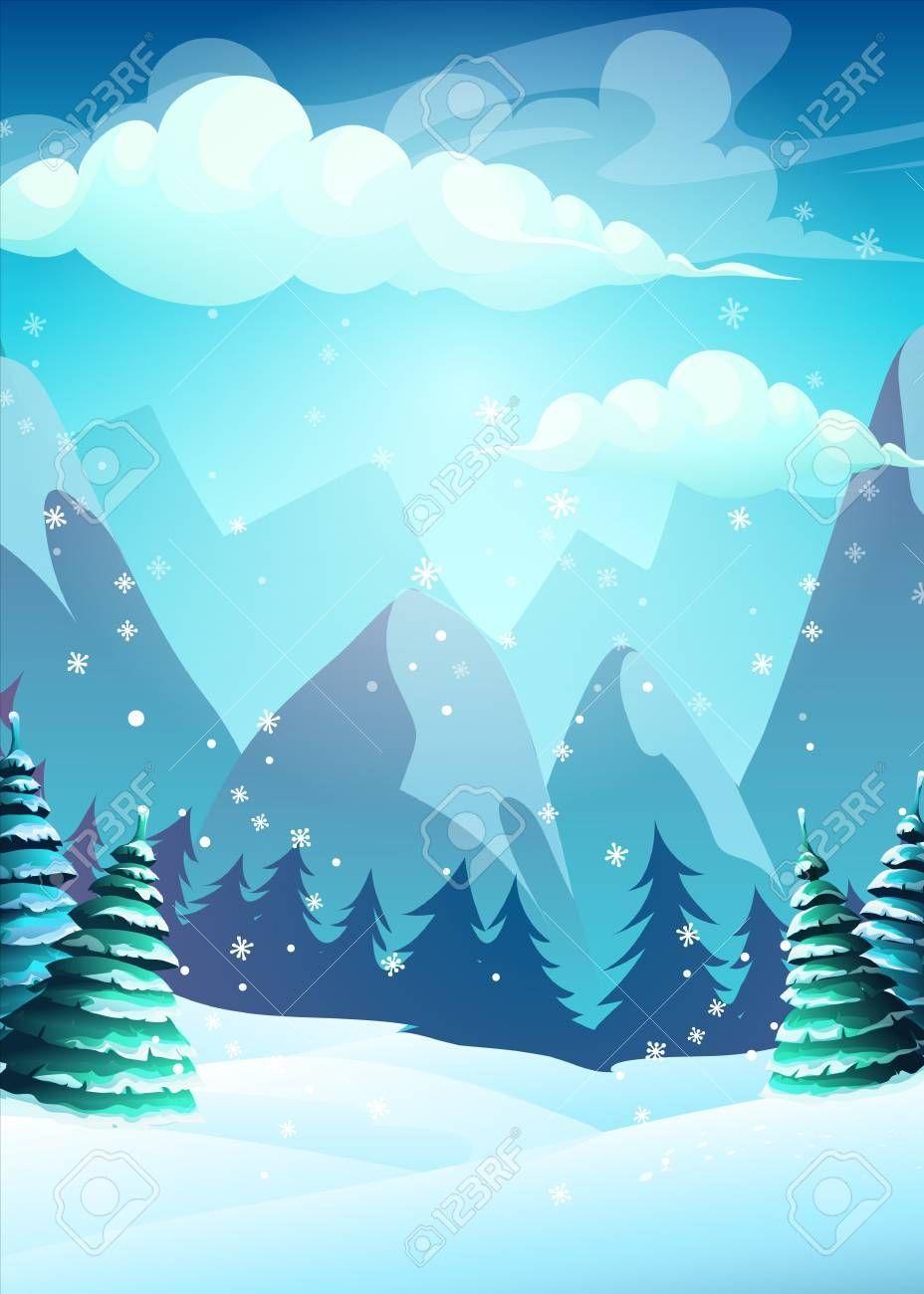 Vector Illustration Cartoon Winter Landscape For Web Video Games User Interfa In 2020 Christmas Card Illustration Vector Illustration Winter Illustration