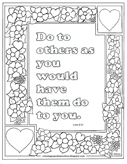 Coloring Pages for Kids by Mr. Adron: Luke 6:31 Print and