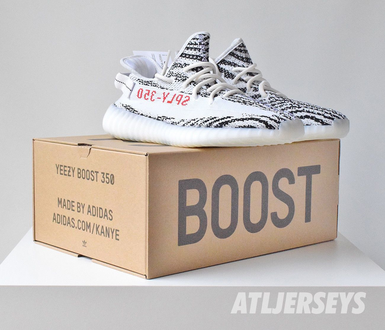29aade95b Adidas Yeezy Boost 350 V2 Zebra Kanye 100% Authentic White Red Size 4-14
