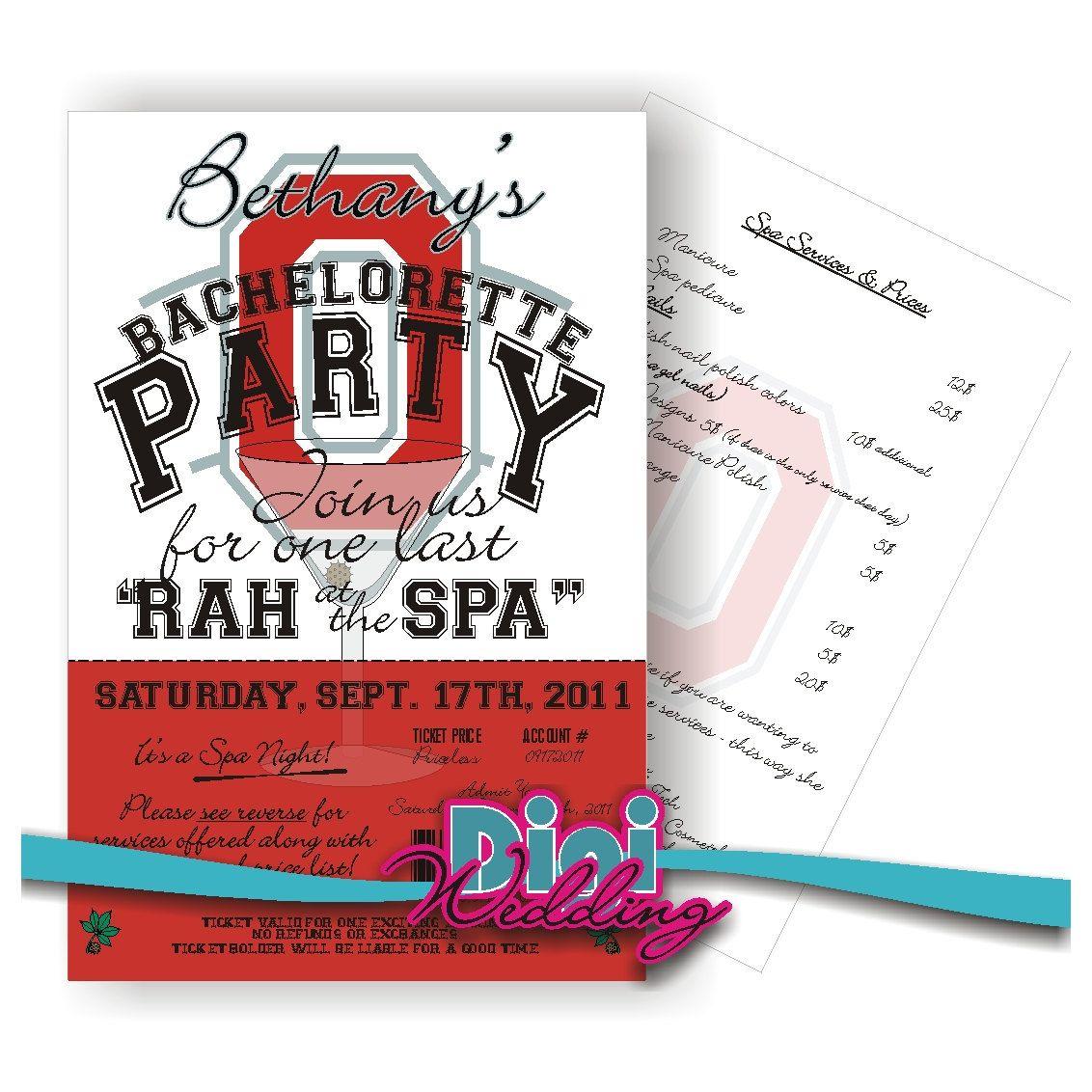 Custom Invitation Any Theme Ohio State Bachelorette Party Inv