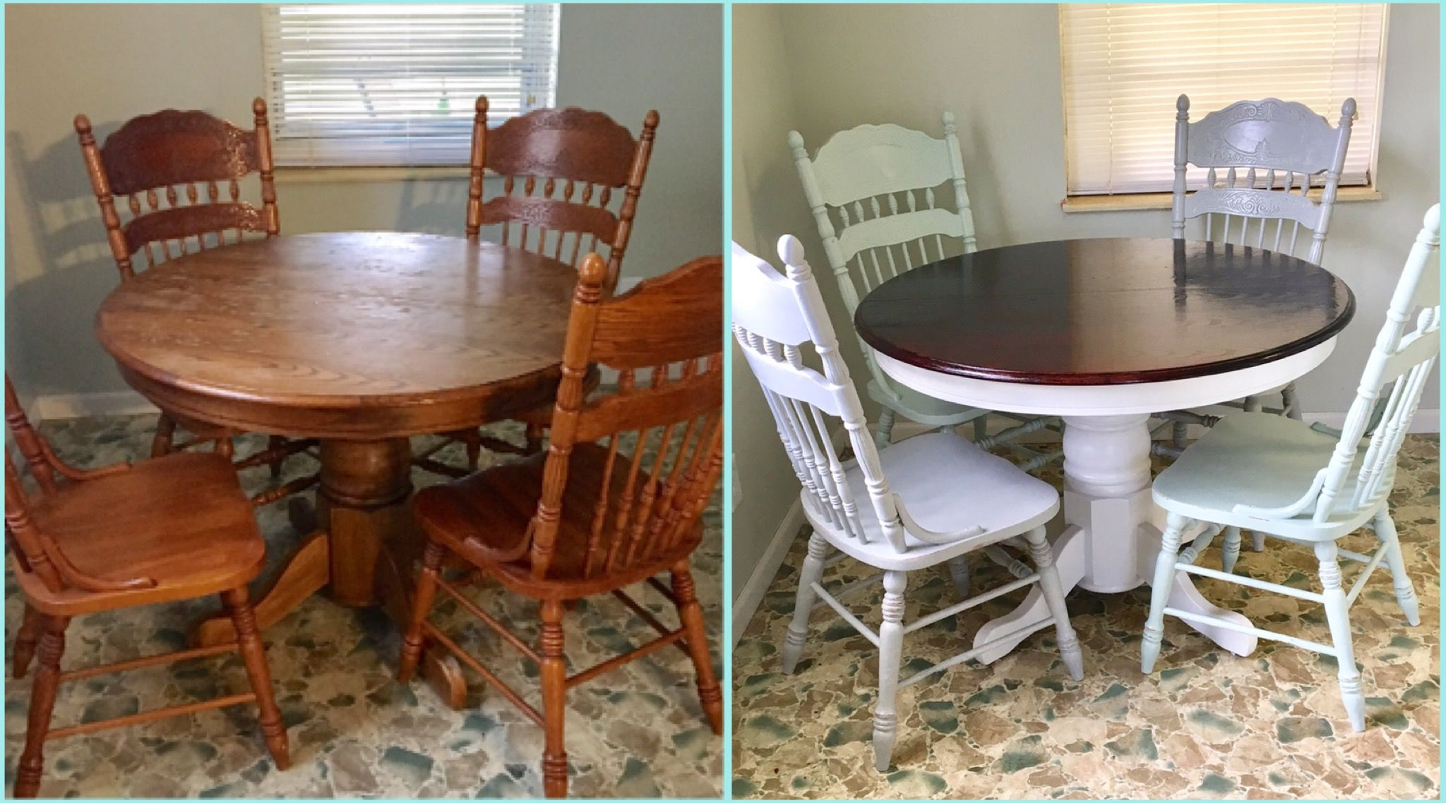 before and after round oak table makeover redo upcycled dining table and chairs stained top. Black Bedroom Furniture Sets. Home Design Ideas