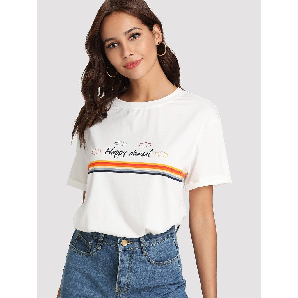 Graphic print roll up sleeve tee roll up sleeves