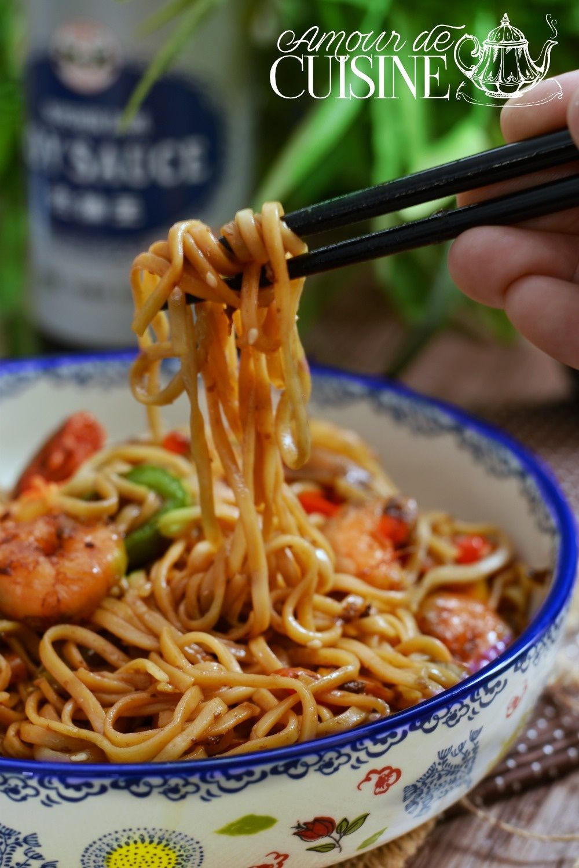 recette de nouilles sautées aux crevettes - Amour de cuisine