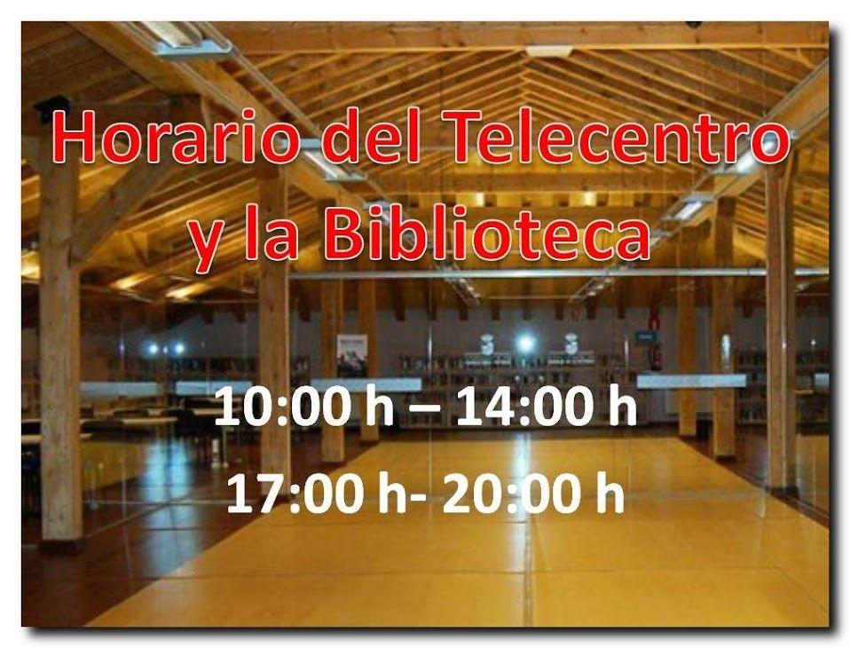 Nuevo horario del Telecentro y la Biblioteca. AVISO: El Telecentro y la Biblioteca Municipal, permanecerán cerrados el lunes 23 de mayo, con motivo de la festividad de Santa Rita.