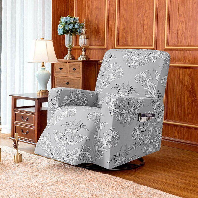 Foral Printed Stretch Box Cushion Recliner Slipcover Slipcovers For Chairs Slipcovers Recliner Slipcover
