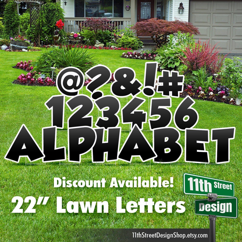 22 Black Lawn Letter Yard Signs Full Alphabet 22 Etsy In 2021 Yard Cards Happy Birthday Yard Signs Lawn Decor