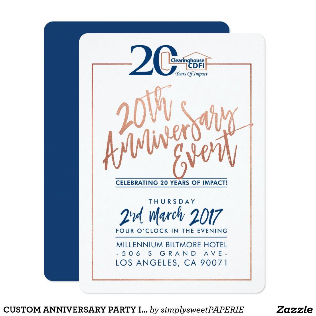 Custom Anniversary Party Invite Corporate Navy 2 Zazzle Com
