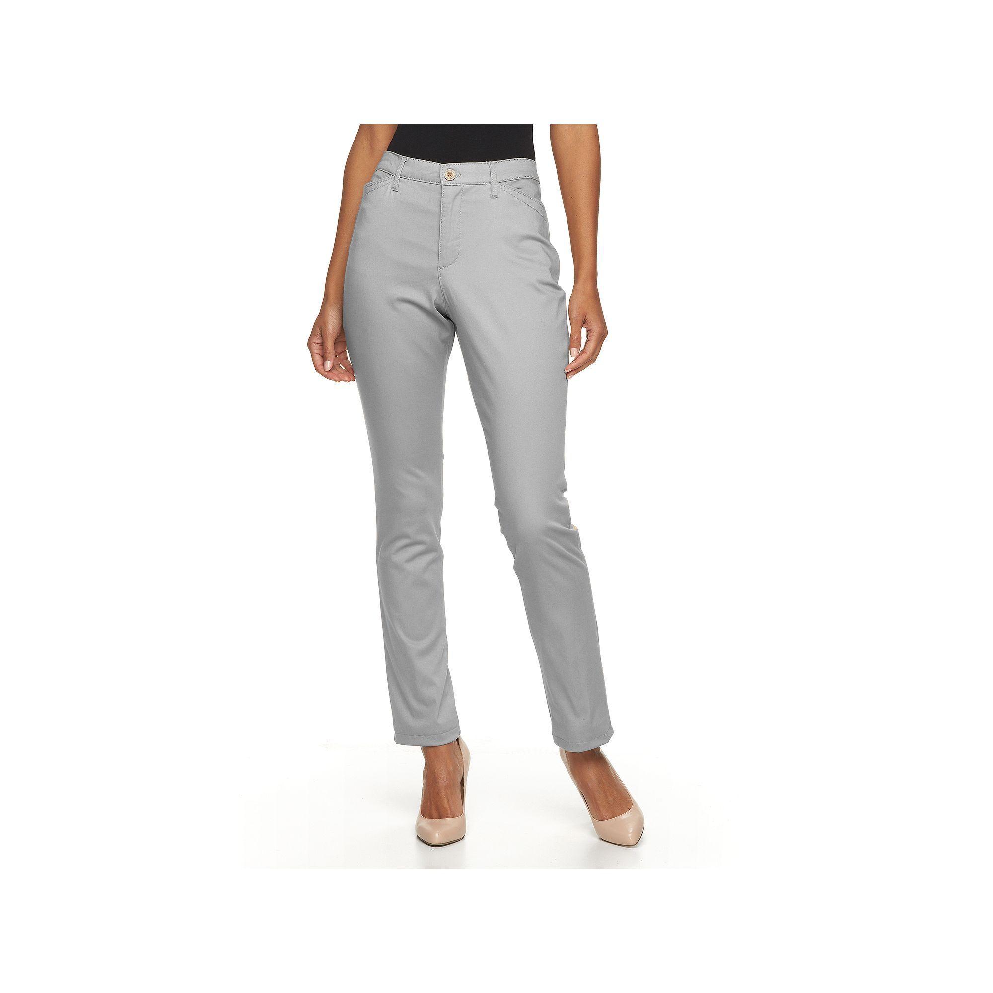 Women's Gloria Vanderbilt Anita Sateen Straight-Leg Pants, Size: 12 Avg/Reg, Silver