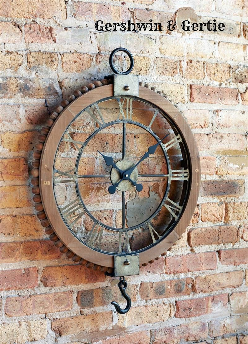Open Grist Mill Wall Clock Vintage Endustriyel Mobilya Ev Dekoru Aksesuarlari Vintage Endustriyel Dekor