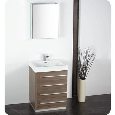 Fresca   Livello 24 Inch Gray Oak Modern Bathroom Vanity With Medicine  Cabinet     Home Depot Canada