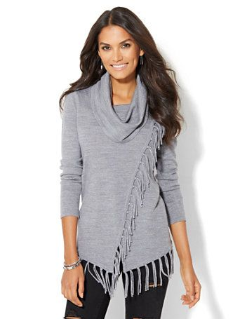 Shop Fringed Cowl-Neck Sweater. Find your perfect size online at ...