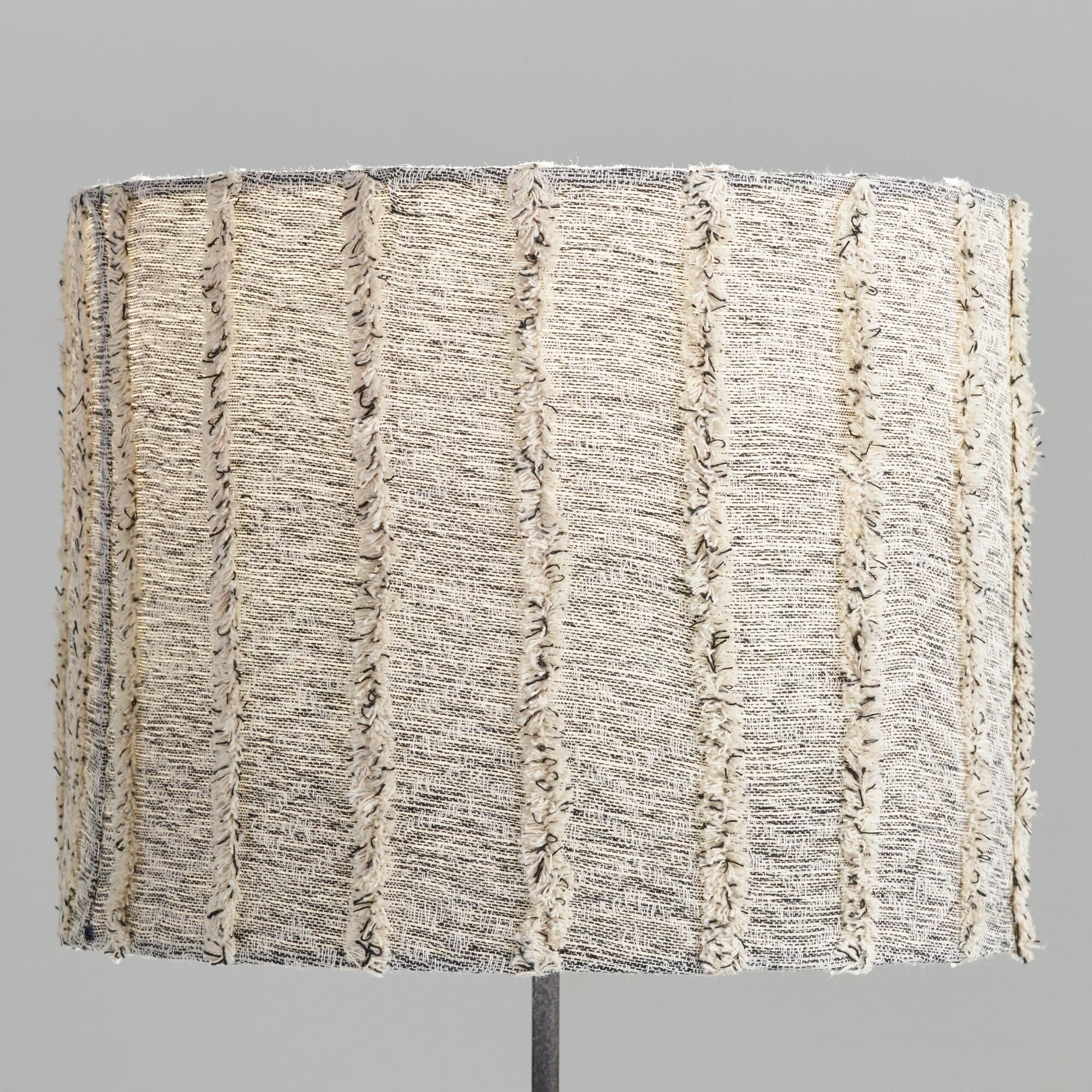 Marbled Gray Textured Drum Table Lamp Shade With Fringe By World