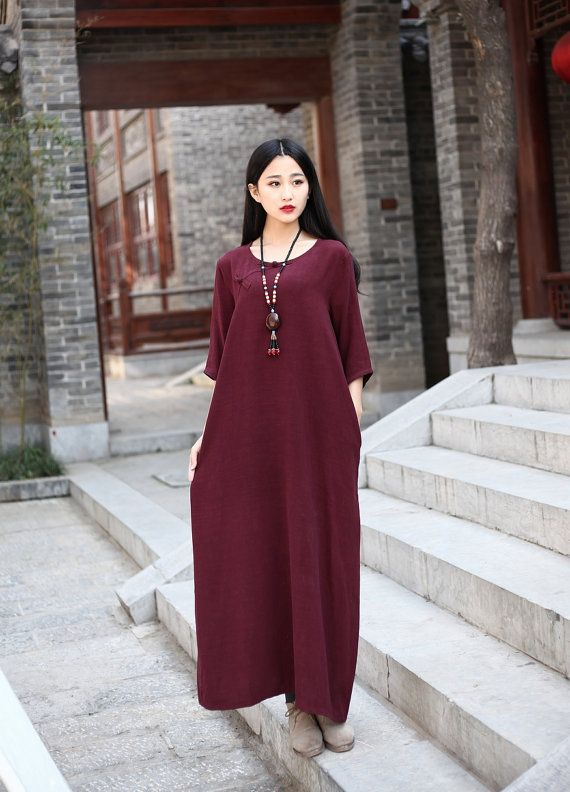 Linen dress Cotton Maxi dress Casual loose Kaftan Party Dress Extravagant Daywear Dress Custom-made Plus size tunic dresses Large size dress