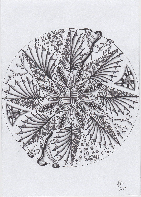 Zendala Made By Marlou Zentangle Art Pattern Drawing Zentangle Patterns