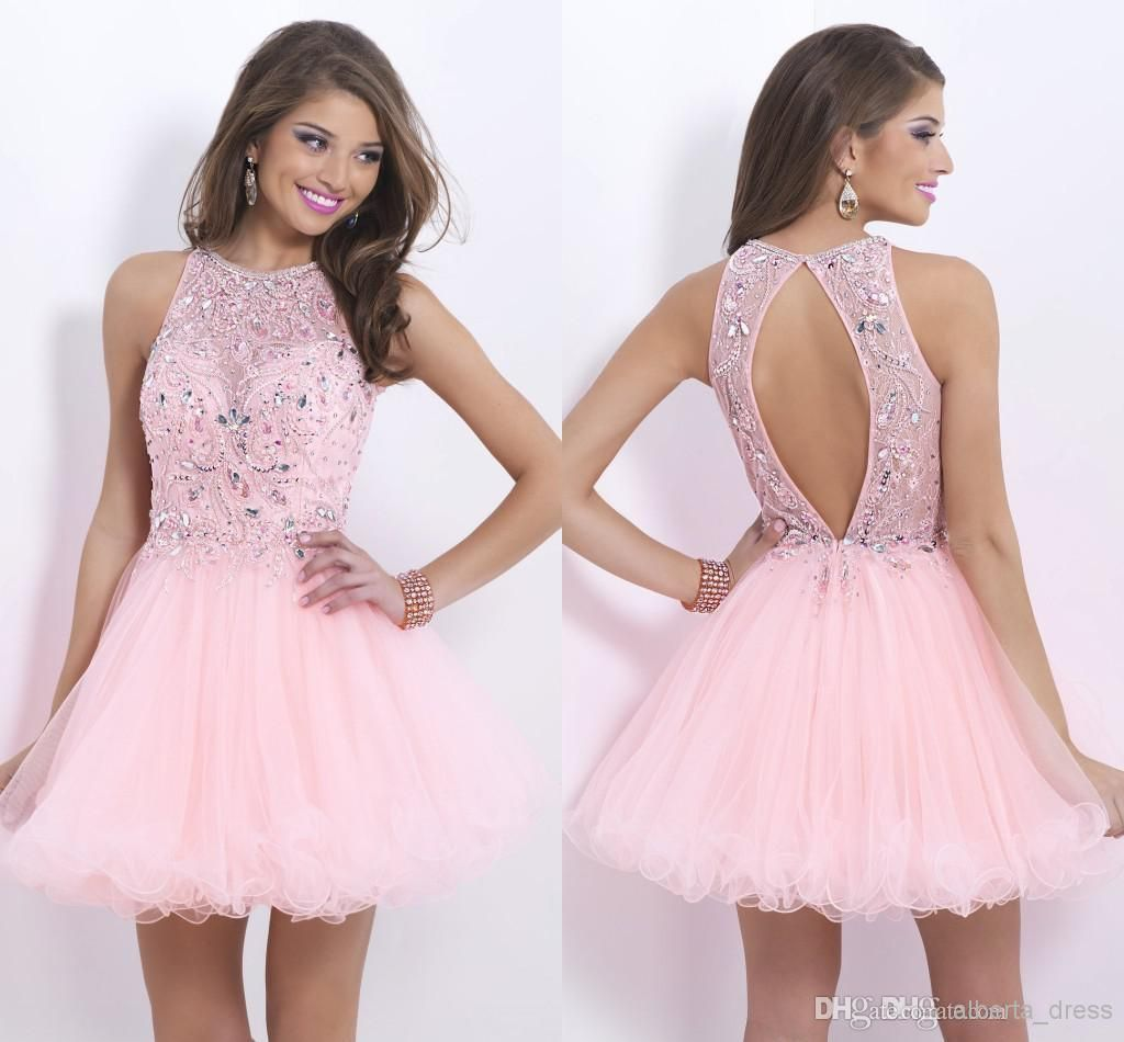 Open Back High Neck Light Pink Homecoming Dresses Short Tulle A Line Sequins Prom Dresses Modest New Arrival Crystal Cute Club Gowns From Alberta Bridal 67 84 Pink Homecoming Dress Homecoming Dresses Homecoming [ 950 x 1024 Pixel ]