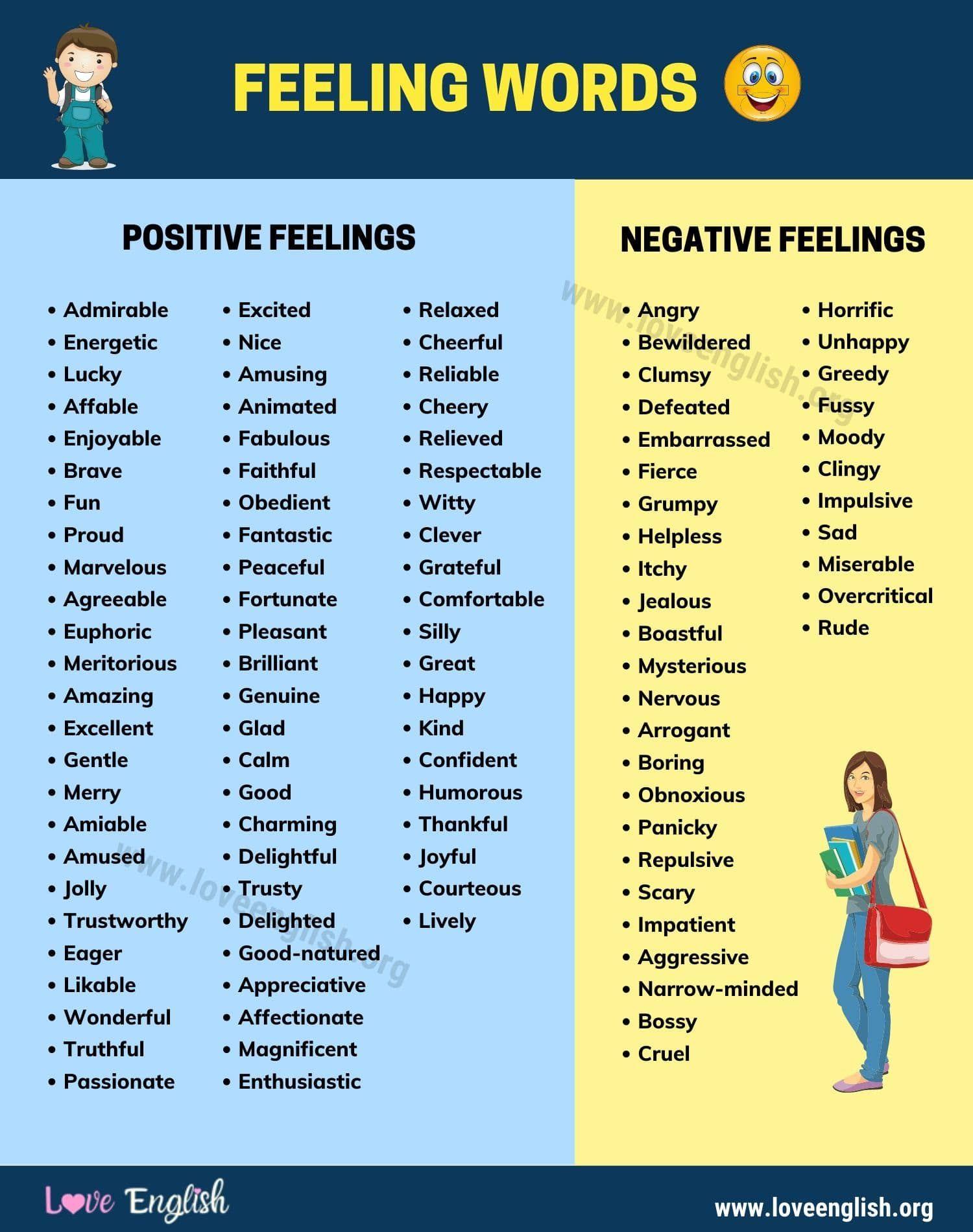 Feeling Words 100 Useful Words For Talking About Feeling Good Or Bad Love English Feelings Words Feeling Words List Emotion Words