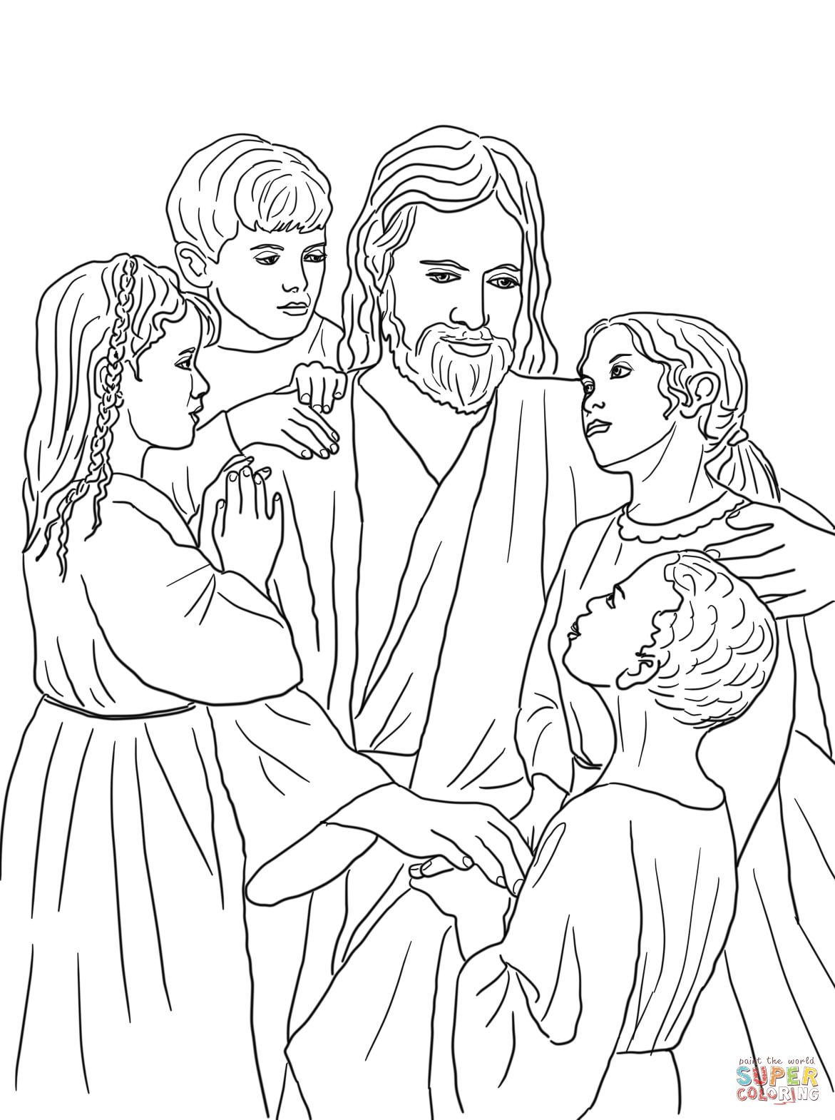 Free Coloring Page Of Jesus And The Children