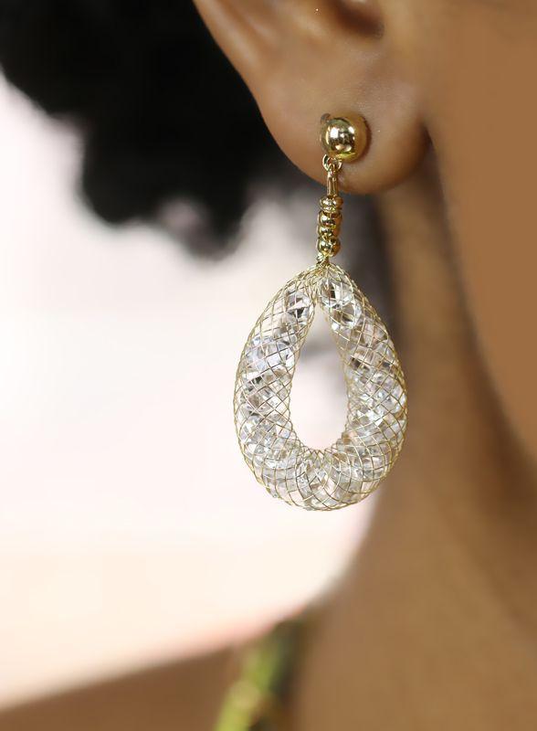 Metal Mesh Crystal Earrings. #MORANA [ MoranaOnline.com ]
