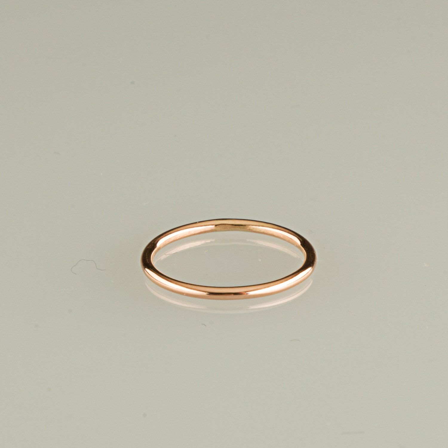 dainty bands thin wedding band stacking media smooth solid gold ring or hammered