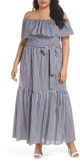 ca606525637 Plus Size Off the Shoulder Gingham Maxi Dress  plussize