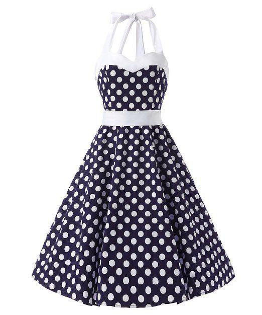 Dresstells Neckholder Rockabilly 50er Polka Dots Punkte Kleid Petticoat  Faltenrock  Amazon.de  Bekleidung 102c55cac0