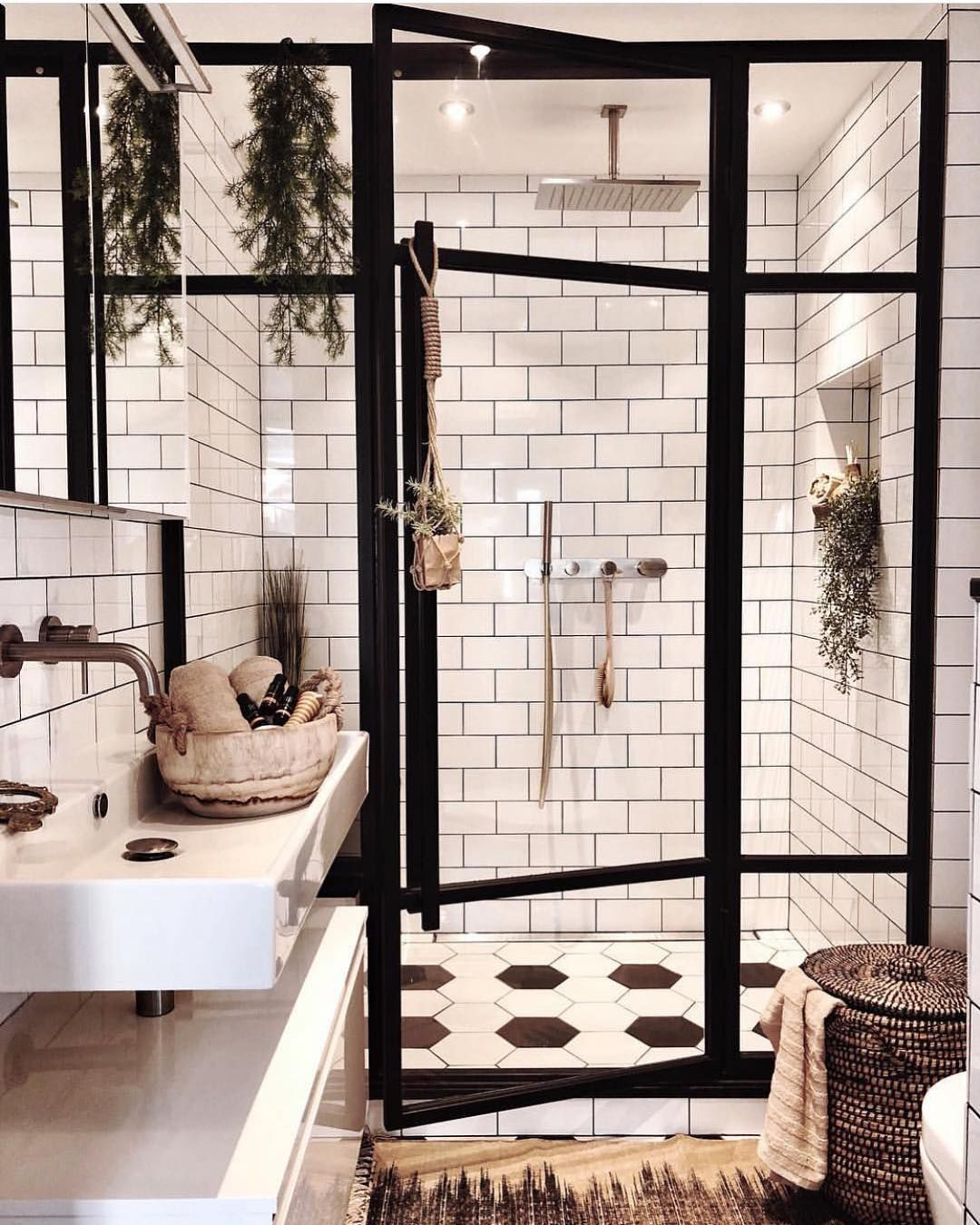 """Bathrooms of Instagram on Instagram: """"Obsessed with these thick framed shower doors!! Design: @andrea_groot  #bathroomdesign #bathroomdecor #realestate #bathroomsofinsta…"""""""