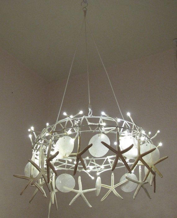 Bathroom Lighting Beach Cottage handcrafted starfish chandelier~tiny white led lights chandelier