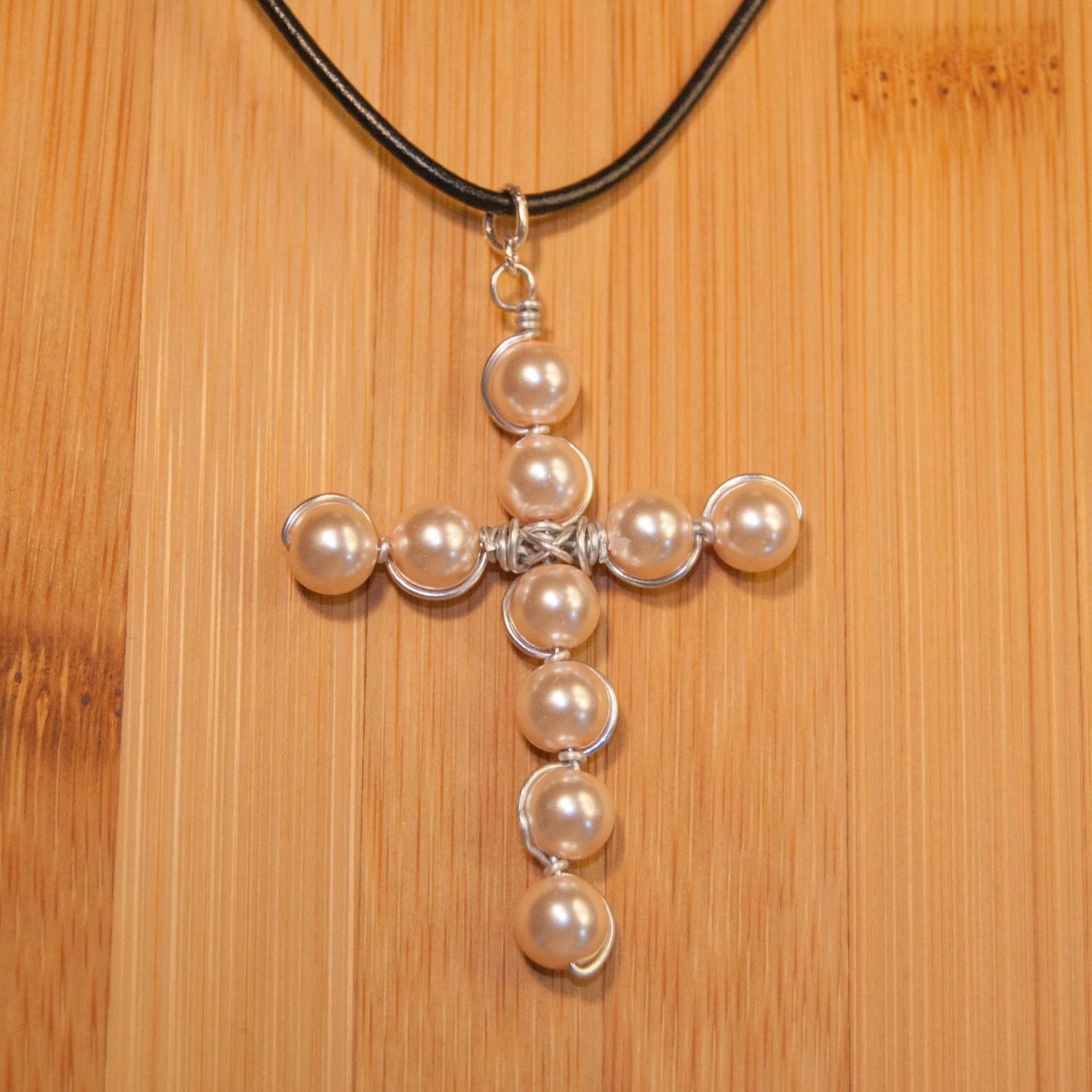 Beaded Wire Wrapped Cross Necklace, Wrap Beaded Wire Necklace, Bead Necklace, Leather Necklace