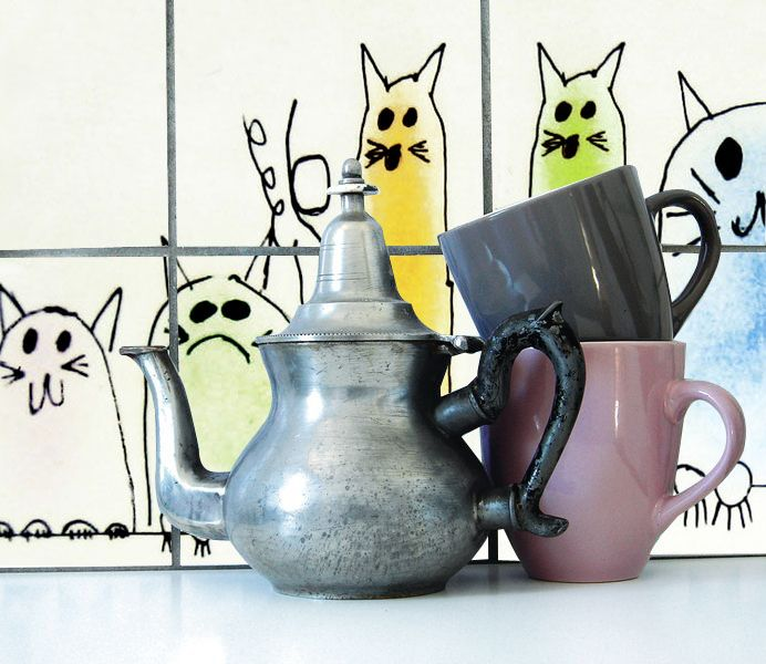 Decorative Tiles Australia For All The Cat Lovers Splashback With Cartoon Cats  1