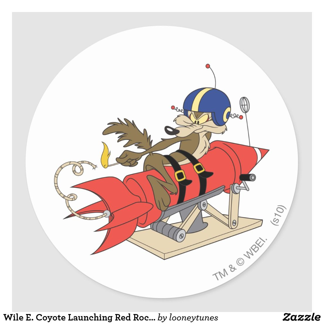 Wile E Coyote Launching Red Rocket Classic Round Sticker Zazzle Com Round Stickers Custom Stickers Classic Cartoons [ 1106 x 1106 Pixel ]