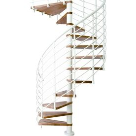 Best Dolle Oslo 63 In X 10 Ft White With Wood Treads Spiral 400 x 300