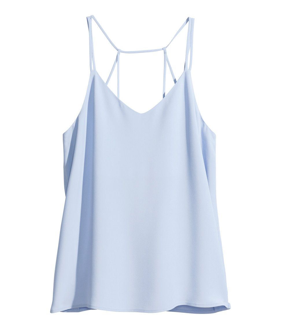 f8bf7cb877e54d Light blue camisole top with V-neck and narrow shoulder straps ...