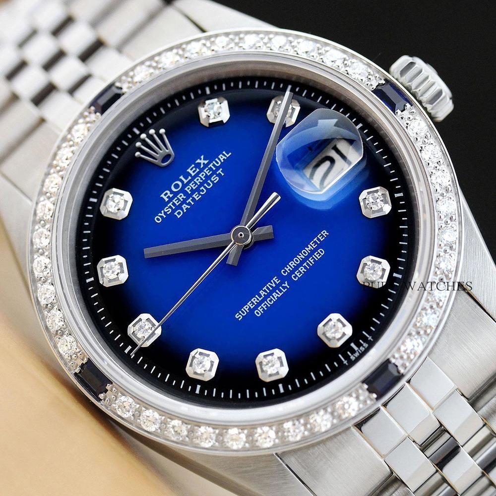 Mens rolex datejust blue sapphire diamond 18k