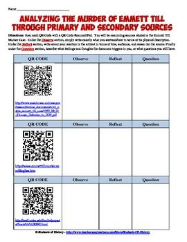 Fantastic lesson plan activity on Emmett Till using primary and secondary source through QR Codes! Great for implementing technology and CCSS in one great class project!