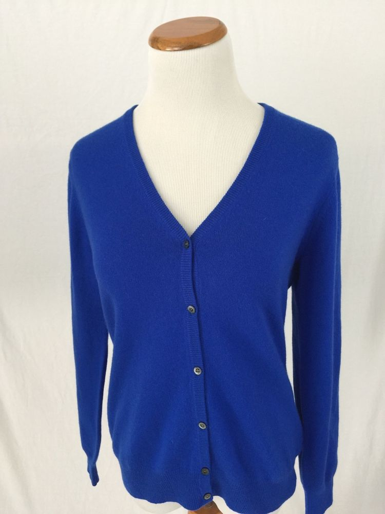 BALLANTYNE royal blue 100% cashmere Cardigan sweater women's L ...