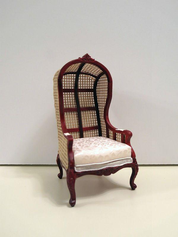 Dollhouse Miniature Rattan Wicker Canopy Chair
